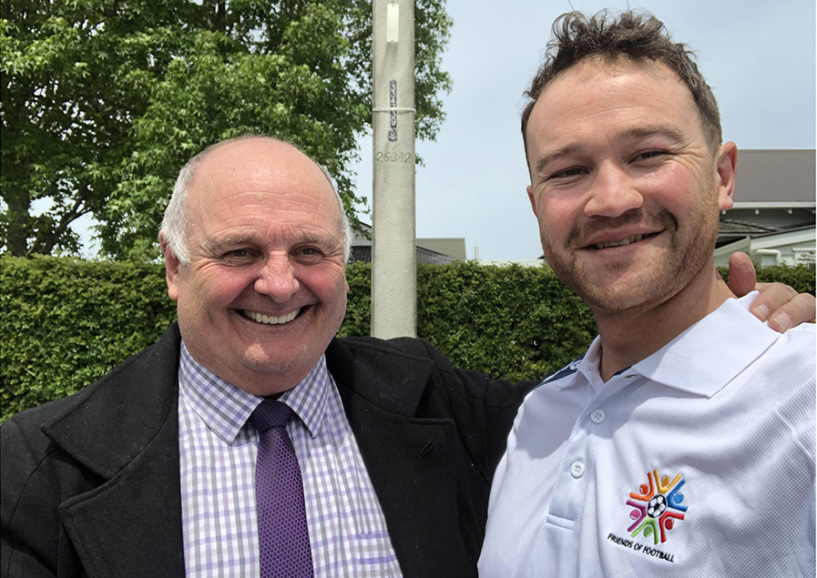 Friends of Football committee member Allan Yates (left) with Manukau United chair Hone Fowler